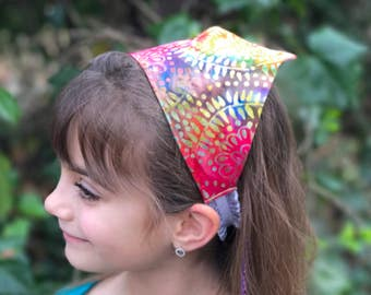 Rainbow Head Scarf Bandana Headband - Tie Dye Rainbow Batik Hair Scarf