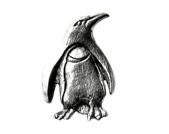 Penguin Lapel Pin - Tie Tack - Valentine's Gift - Handmade - Gift Box Included