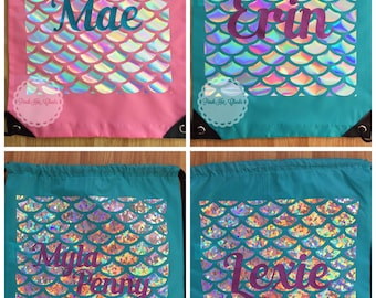 Personalised holographic mermaid scale swim beach bag. School/welly/gym bag.