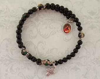 Rosary Bracelet, Black Onyx, Holy Family, 5 Way Cross, Five Decade, Stainless Steel, Memory Wire, Gemstone, Handcrafted, Wrapped Rosary