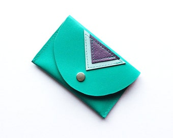Geometric patterned leather stitched 'Pop' purse - Turquoise & purple