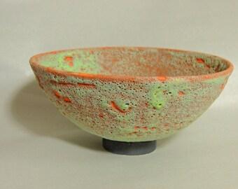 Mid Century Modern Crater Glaze Bowl (orange)