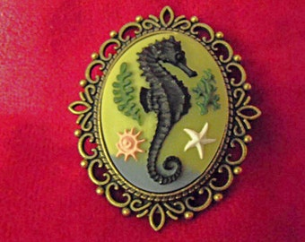 Cameo Brooch Pin,   Large Bronze Nautical Vintage Looking Seahorse  Womens Gift  Handmade