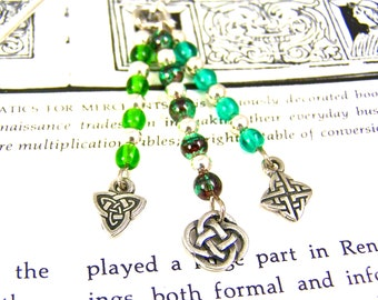 Bookmark - Silver Plated Pewter Celtic Knot - Silver Plated Shepherd Hook - Green, Lime and Teal Glass Beads
