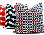 Outdoor Red and Blue Cosmos Pillow Cover Schumacher Studio Bon, Square Lumbar or Eurosham, Schumacher Red White Blue Outdoor Pillows Cushion