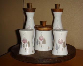 Mid Century Condiment Set on Lazy Susan Japan Wood Porcelain Salt Pepper Vinegar Oil Marmalade