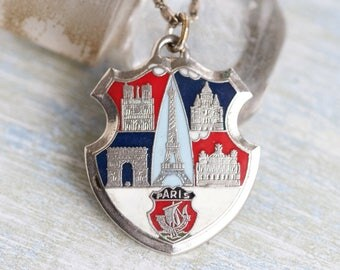 Eiffel Tower Medallion Necklace - Coat of Arms We Will Always Have Paris - Souvenir Pendant and Necklace