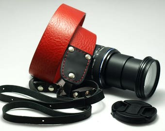 Handmade personalized red leather Camera Strap, DSLR Strap, Camera Neck sling hand stitching, free initials or name unisex / Italian leather