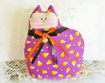 Halloween Cat Pillow, Cat Doll, 7 in. Candy Corn, Autumn, Fall, Primitive Soft Sculpture Handmade CharlotteStyle Decorative Folk Art
