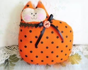 Halloween Cat Pillow, Cat Doll, 7 in. Orange w/ Black Dots Autumn, Fall, Soft Sculpture Handmade CharlotteStyle Decorative Folk Art