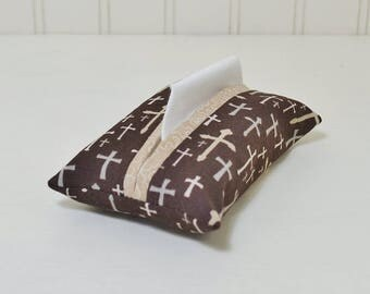 Crosses Fabric Tissue Holder - Christian Pocket Tissue Pouch - Religious Tissue Cover - Brown Purse Accessory - Bible Study Thank You Gift