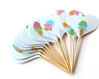 Ice Cream Cupcake Toppers, Birthday Party, Summer Party, Ice Cream Party