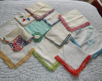 Large Lot Vintage Shabby Cottage Lot Nice Ladies Hankies  Handkerchiefs Embroideried Blues Pinks Yellows