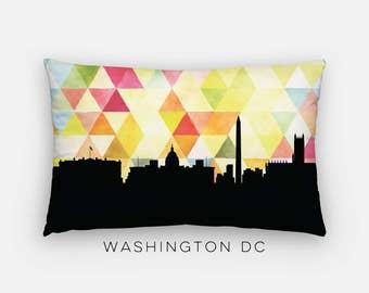 Washington DC skyline pillow | Washington DC pillow | geometric Washington DC skyline | geometric pillow | geometric home decor