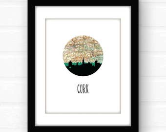 Cork, Ireland map print | Cork, Ireland print | Ireland poster | travel poster | Ireland art | Ireland travel print | Ireland wall art