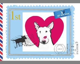 "Bull Terrier Valentine Postcard Set ""Love"""