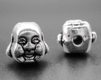 6pcs-silver Buddha beads-Antique silver metal charm beads