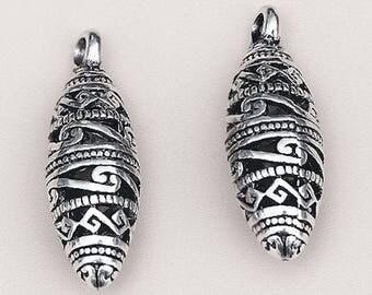 6pcs-filigree olive charm pendant-Antique silver tone olive charm pendant