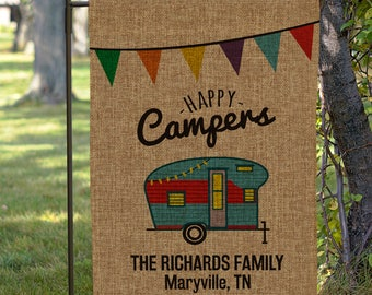 Personalized Happy Camper Burlap Garden Flag, camping, garden decor, home, personalized, yard flag, burlap, family -gfy830111622B