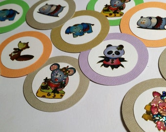 CLEARANCE: Animals Cupcake Toppers/Set of 20 - Ready To Ship! (106tops)