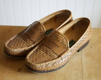 Vintage Cole Haan Tan Woven Penny Loafers 6B