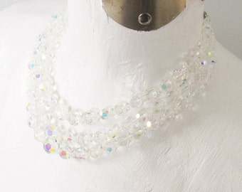 Vintage Multi 3 Strand Crystal Beaded Necklace  1950s 1960s