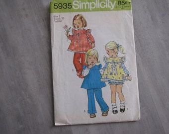 Vintage 1973 Baby Girl Smock, Panties and Pants Pattern - Simplicity 5935 - size 1 Toddler