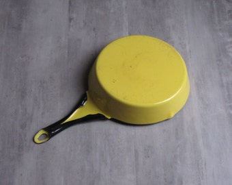 Vintage Yellow Enamel Round Frying Pan