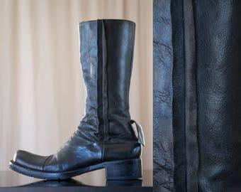 leather deconstructionist boots - 9 women