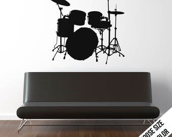 Drum Set Wall Decal  - Drummer  - Drums - Music - Vinyl Sticker