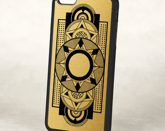 Art Deco iPhone cover Geometric Black and Gold iPhone case , Retro iPhone 6 iPhone 7 case, Silicone Rubber iPhone Case, iPhone SE Case