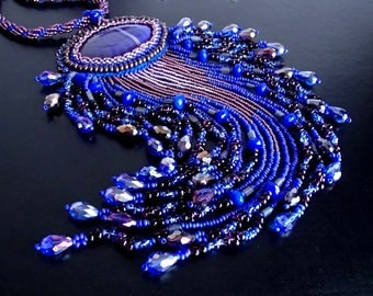Agate Necklace, Blue Necklace, Unique Necklace, Beadwork Necklace, OOAK Bead Embroidered