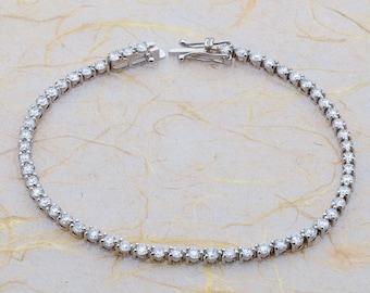 14k  Genuine White Sapphire Tennis Bracelet