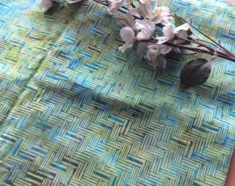 Vintage Mid Century Basketweave Pattern Turquoise Green Cotton Fabric, Vintage Textiles, Vintage Cotton Material, Vintage Sewing Supplies