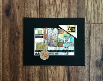 Collage Art, Collage, Cross Roads, Blue Chip Stamps, Original Art