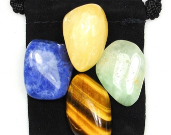 EDUCATION Tumbled Crystal Healing Set (Learn, Study & Test Aid) - 4 Gemstones w/Card and Bag - Calcite, Prehnite, Sodalite, and Tiger's Eye