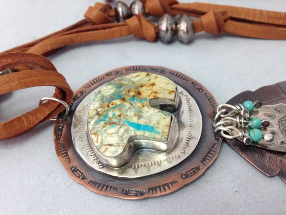 Handmade, Southwestern, Mixed Metalwork, Royston Turquoise Bear Pendant, Sterling & Copper Feathers, Turquoise, Necklace