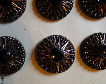 12 antique buttons /1930/glass/ original CARD