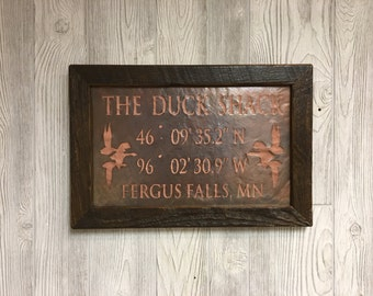 Gifts for hunters, duck hunting, hunting shack sign, duck hunting sign, Latitude Longitude sign, Copper Sign, 7th Anniverary gift for him