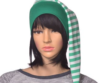 Childs Long Night Cap Green White Stripe Sleep Hat Cotton Elf Cap Nightcap