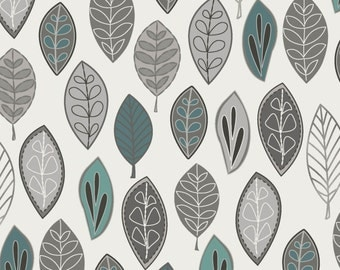 Neutral Ground - Floating Leaves Aqua from Maywood Studio