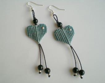 Macrame earrings Heart Boho jewellery Light blue heart