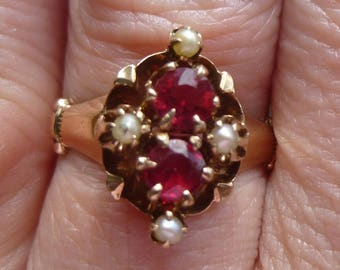 ROSE gold Victorian seed pearl and ruby  ring  One of a kind   Excellent condition