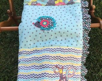 Baby Girl's Hedgehog Theme Blanket, Hedgehog Blanket, Hedgehog Theme, Custom Blanket