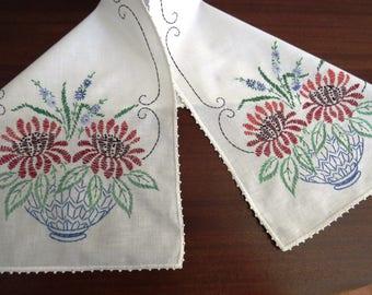 Vintage Embroidered Dresser Scarf - Blue Vase Brown Flowers Forget Me Knots Ferns Table Runner - Crochet Edges - Vintage Table Linens