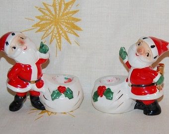 Holt Howard Santa Claus Candle Holders 1958 Vintage 50s Christmas Kitsch Japan