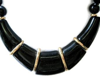 Vintage Necklace Napier Modernist Silver Black Lucite 1970s Statement Jewelry