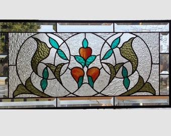 Large beveled Victorian stained glass window panel orange flowers clear stained glass panel window hanging window art 0193 24 1/2 x 12 3/8