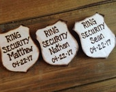 Gift for Ring Bearer Ring Security Police Badges Set of 3 - Personalized with Title, Names and Wedding Date Junior Groomsman Usher
