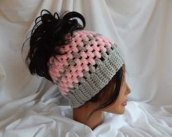 Messy Bun Hat Pony Tail Hat - Crochet Woman's Fashion Hat - Pink and Gray